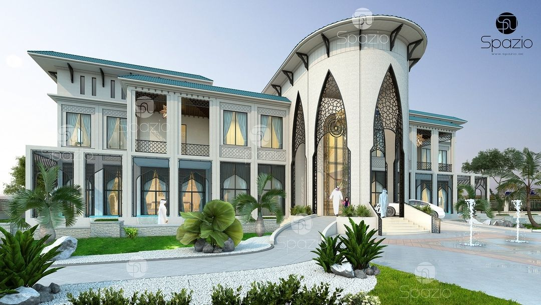 Arabic Style House Exterior Design With Arches This Amazing Architectural Design For A Luxury House Interior Design Modern Villa Design Interior Design Dubai