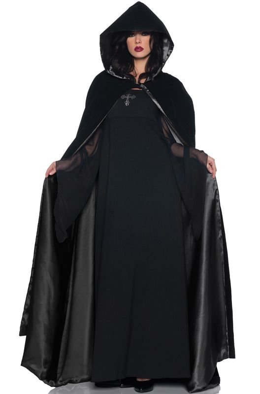 Black Adult Men Hooded Cape Long Cloak Black Halloween Costume Dress Coat GIFT