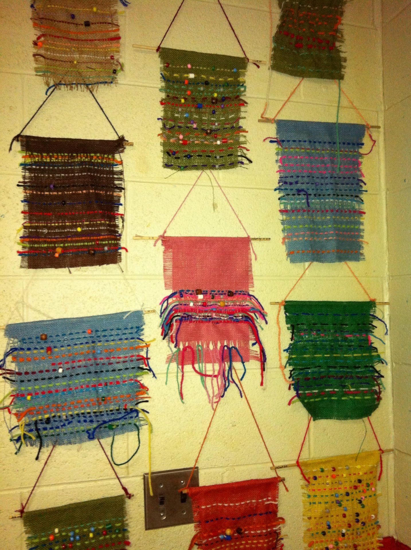 Burlap Weaving By Third Grade