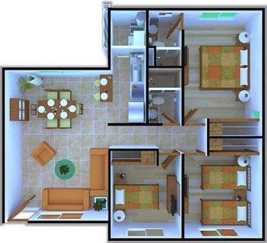 Planos de departamentos de 3 habitaciones arquitectura for Planos apartamentos pequenos