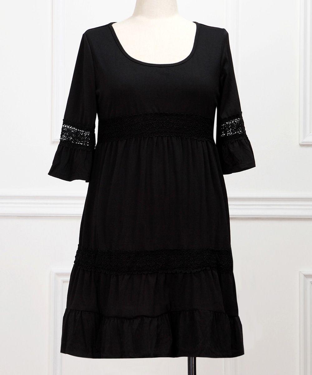Black Crochet Three-Quarter Sleeve Dress - Plus