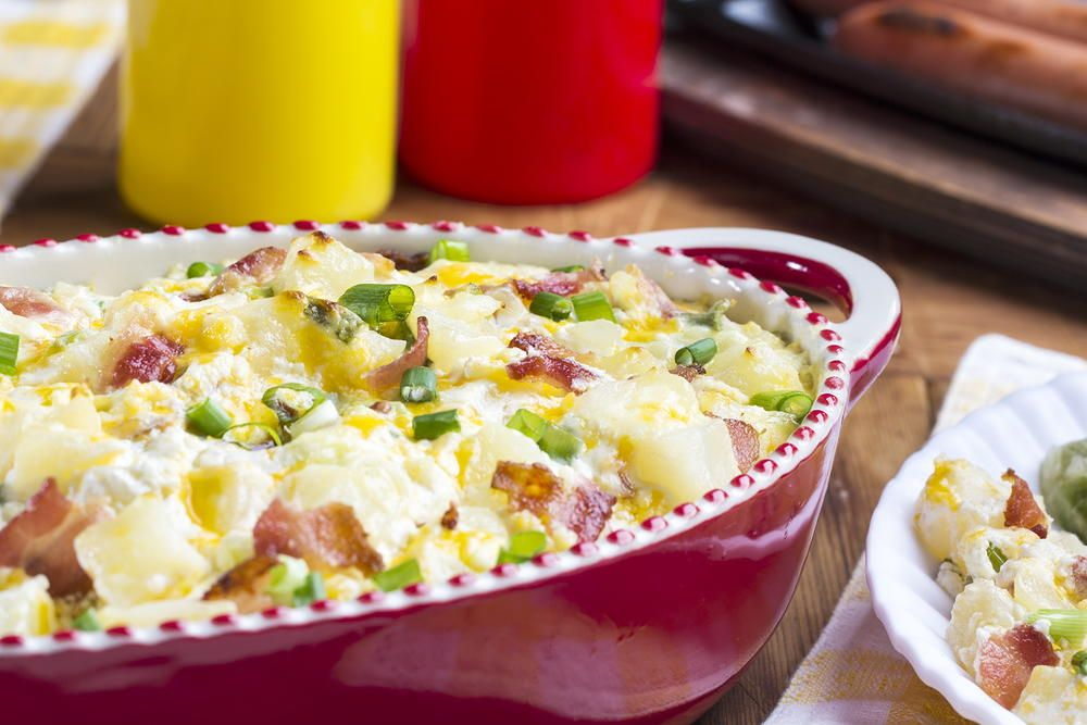 This Two In One Potato Side Dish Is Like A Loaded Baked Potato In Potato Salad Form It S Got A Baked Potato Salad Loaded Baked Potato Salad Easy Salad Recipes