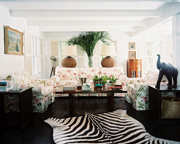 Living Room Zebra Rug tropical living room photos | floral couch, living spaces and