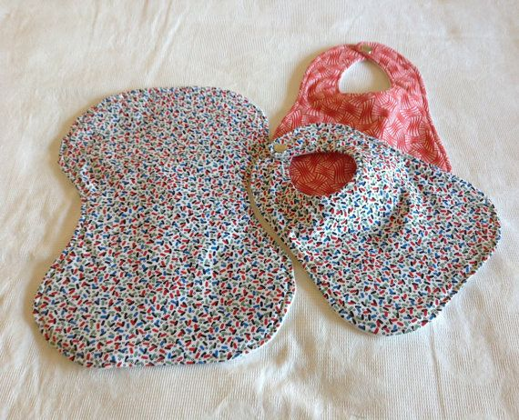 2 bibs and burp cloth set. Multi coloured blocks by ELCEDesigns, $15.00 just perfect for a newborn .