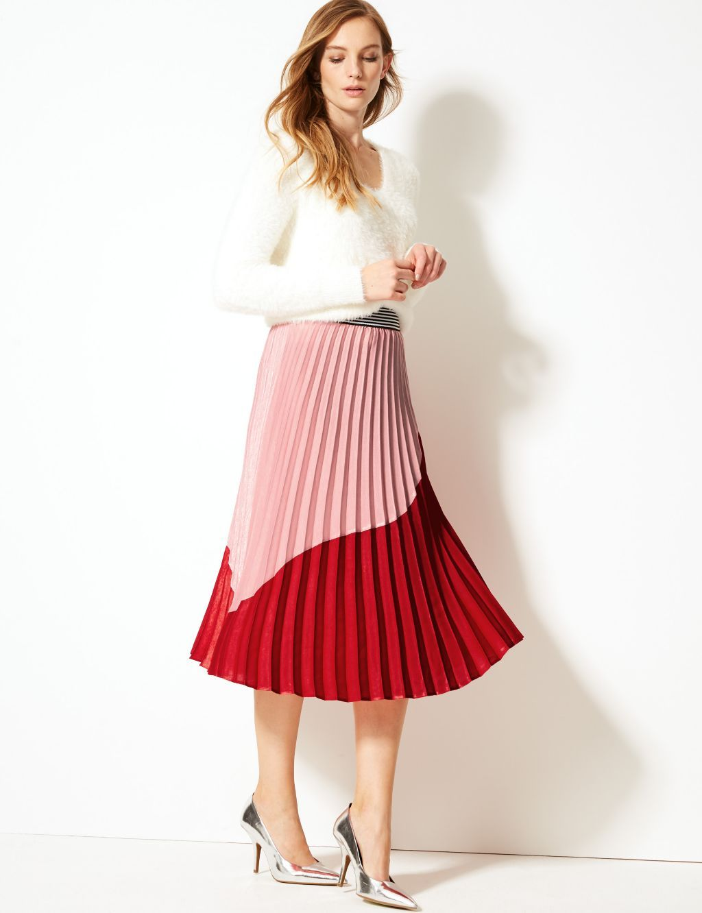 8490070395 Colour Block Pleated Midi Skirt in 2019 | Products I Love | Pink ...
