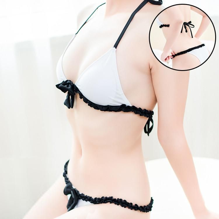 1bd23595216c5 Japanese Sexy White Black Bow Bikini 2 Piece Swimsuit (swim suit) SD02366