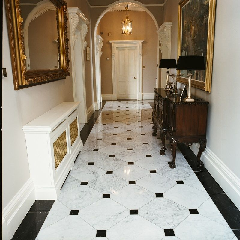 Bianco carrara nero marquina polished italian marble for Tiled hallway floor ideas