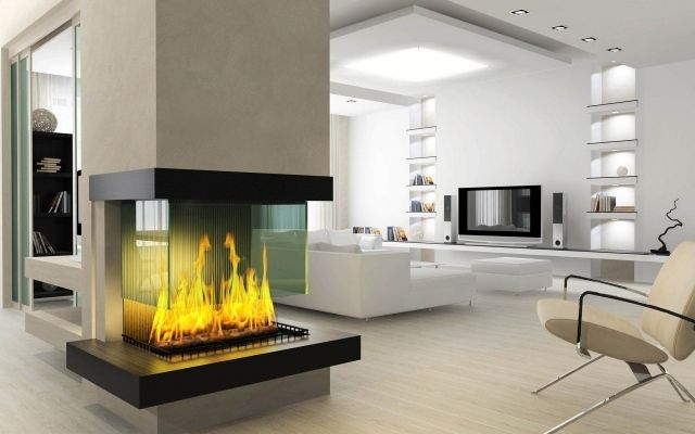 Decoration luxury stylish living room decoration with creative modern glass covering gas fireplace design ideas awesome creative fireplaces warming room
