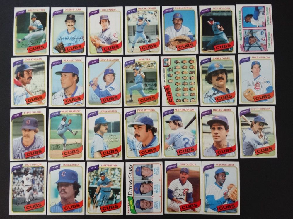1980 Topps Chicago Cubs Team Set of 27 Baseball Cards