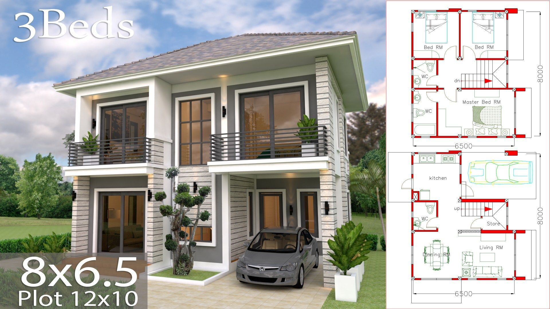 Home Design Plan 8x6 5m With 3 Bedrooms Samphoas Com Architectural House Plans Small House Design Simple House Design