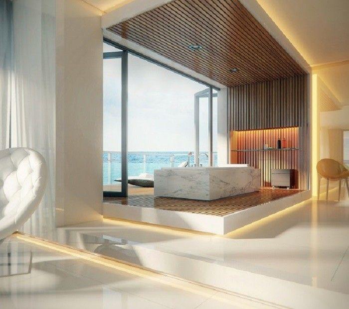 baños modernos de lujo con plataforma y luminarias AMBIENTES - baos de lujo