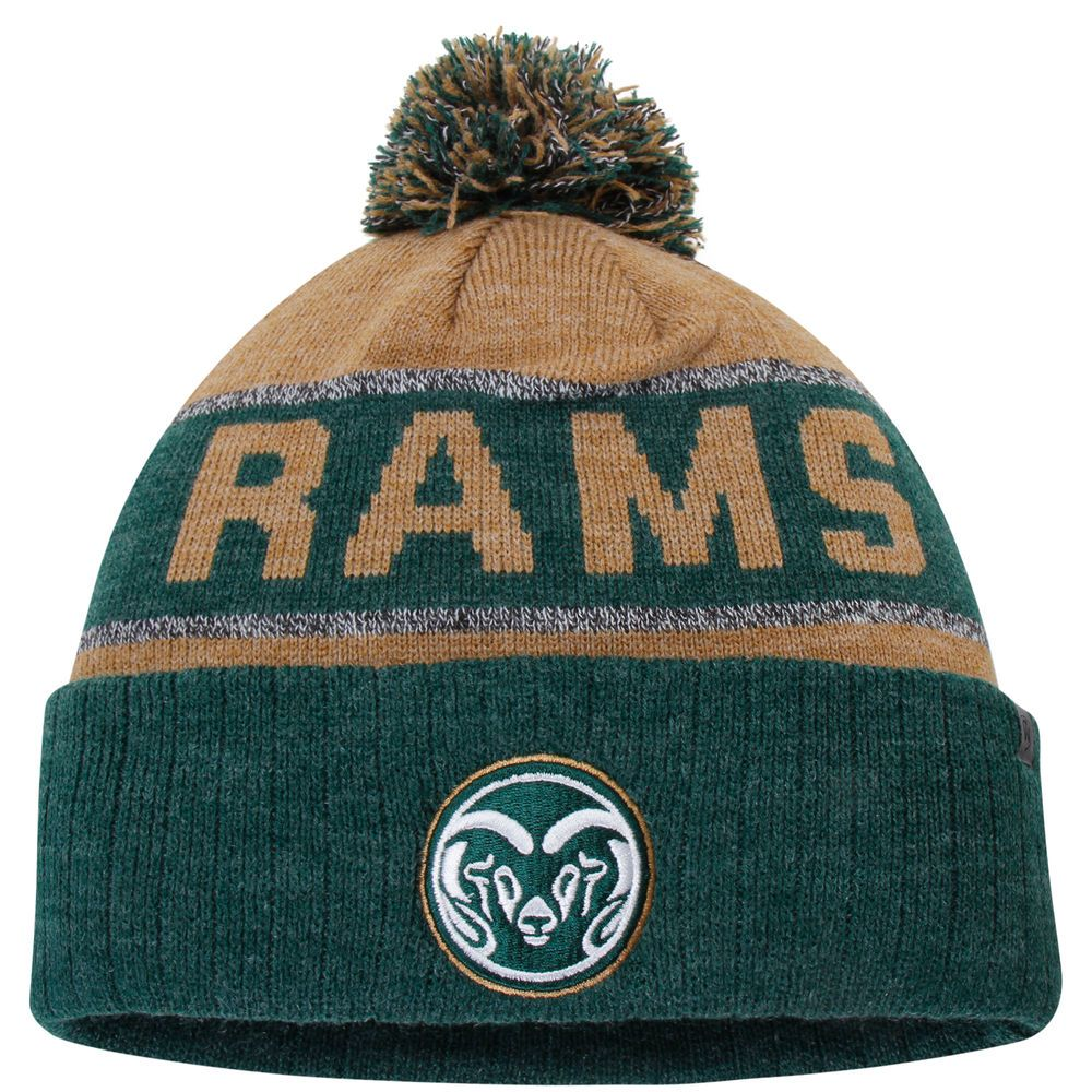 42cbbbf75c7 Men s Top of the World Vegas Gold Heather Green Colorado State Rams Below  Zero Cuffed Pom Knit Hat