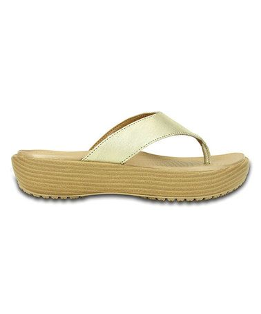 45fcf92e908ea Gold A-Leigh Brushed Metallic Leather Flip-Flop - Women  zulily  zulilyfinds