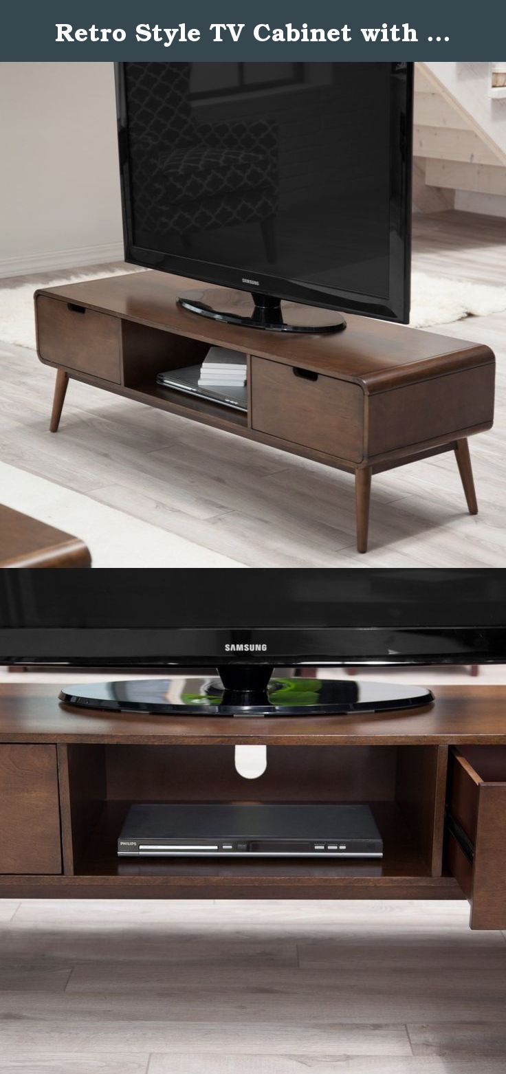 Retro Style Tv Cabinet With Walnut Finish And Solid Wood Legs