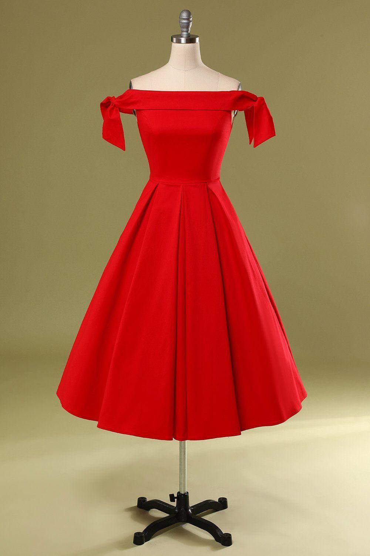 Rotes Schulterfreies Partykleid in 10  Schöne rote kleider