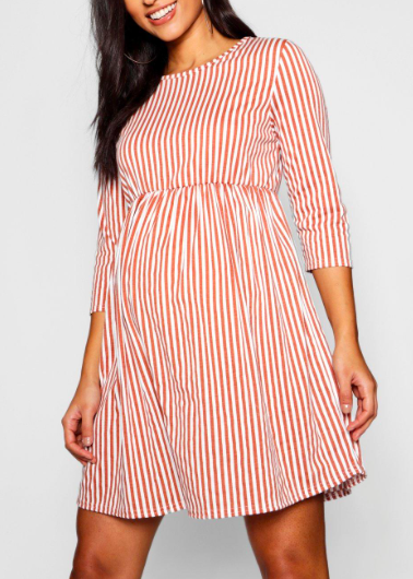 e621c7bd1f414 How perfect is this maternity dress for a summer pregnancy? Maternity 3/4  Sleeve Stripe Dress, maternity clothes, pregnancy outfit, #ad