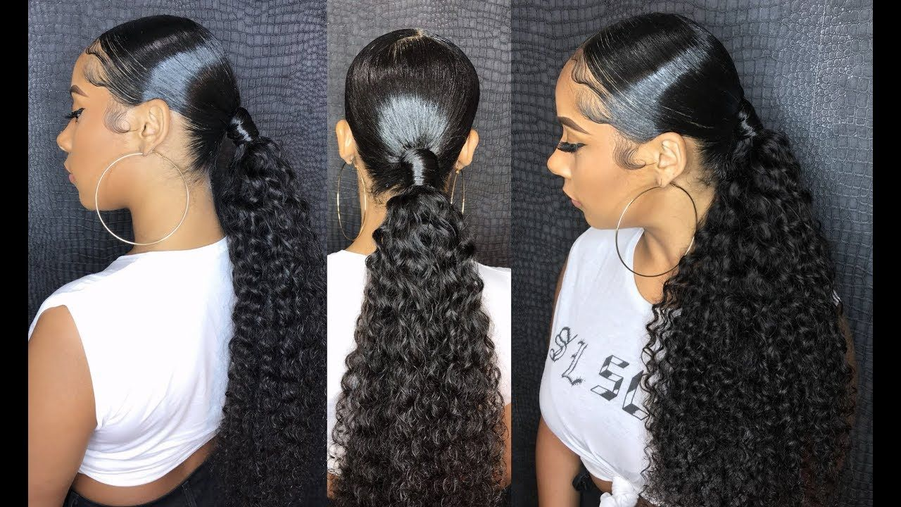 Sleek Middle Part Ponytail With Beauty Forever Malaysian Curly Hair High Ponytail Hairstyles Weave Ponytail Hair Ponytail Styles