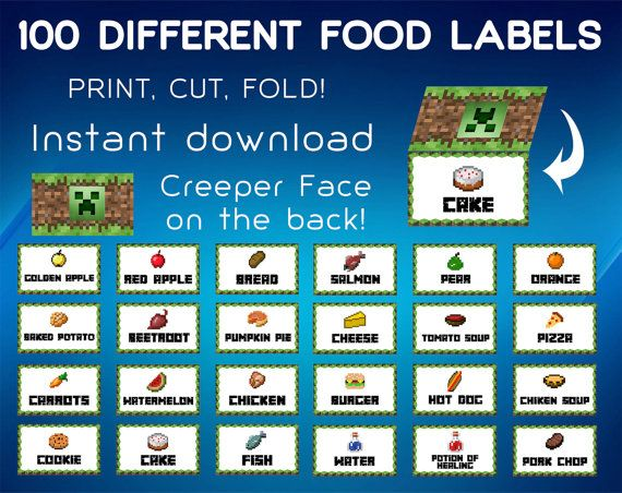 image regarding Free Printable Minecraft Food Tents identified as Cost-free+Printable+Minecraft+Foods+Labels miles minecraft social gathering