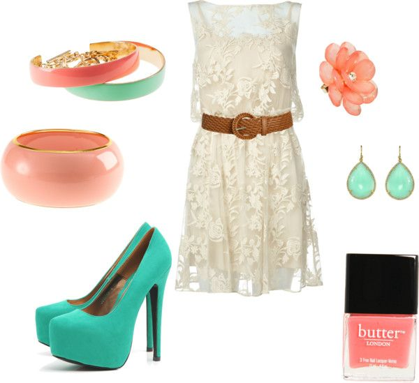 Lacey Turquoise Coral, created by erinelisabeth29 on Polyvore