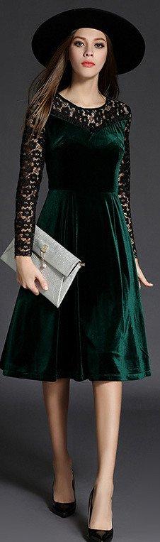 d4892de84689 Green Velvet Knee Length Dress
