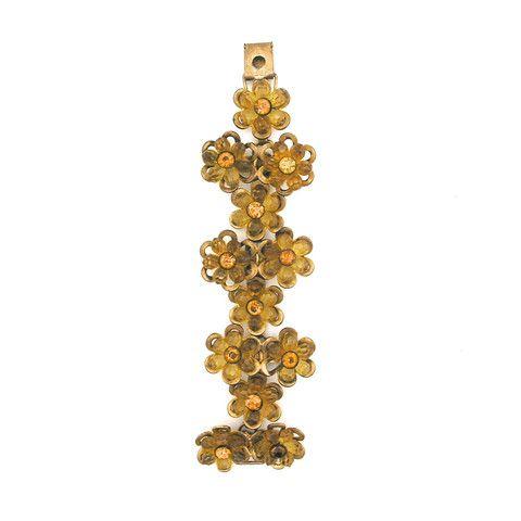 Vintage brass and amber beaded floral Bracelet