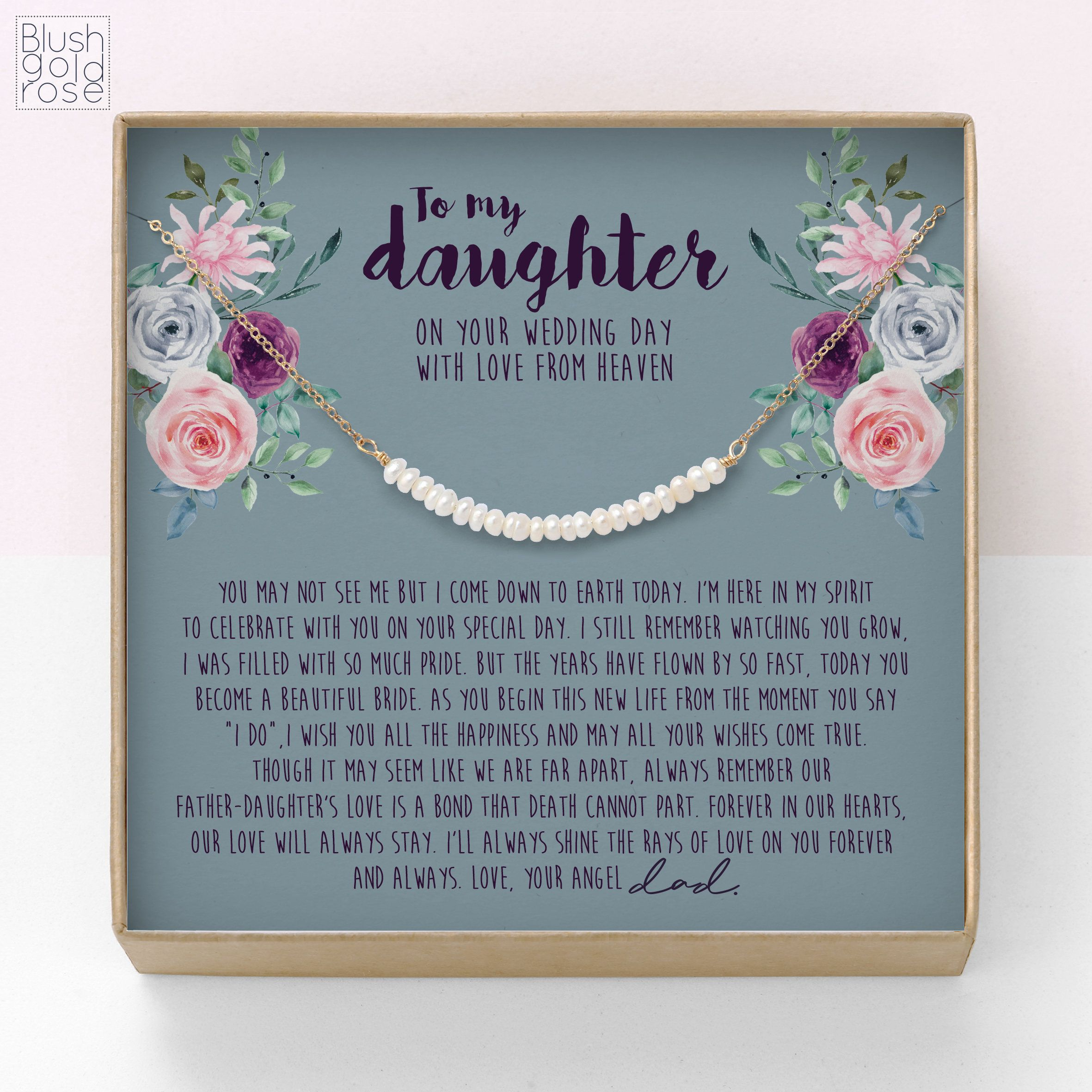 Bride gift from angel dad pearl bar necklace bride