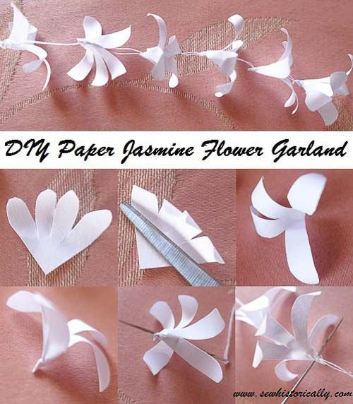 Diy indian paper jasmine flower garland tutorial easy art diy indian paper jasmine flower garland tutorial sew historically mightylinksfo