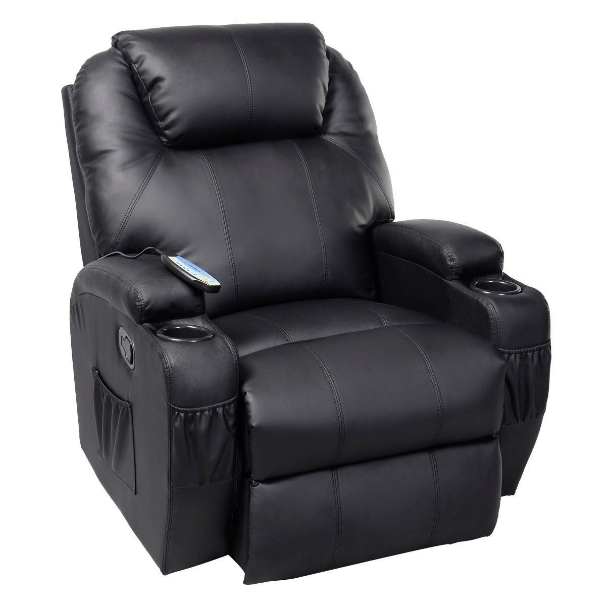 GHP Black Sturdy Ergonomic Seating Massage Recliner
