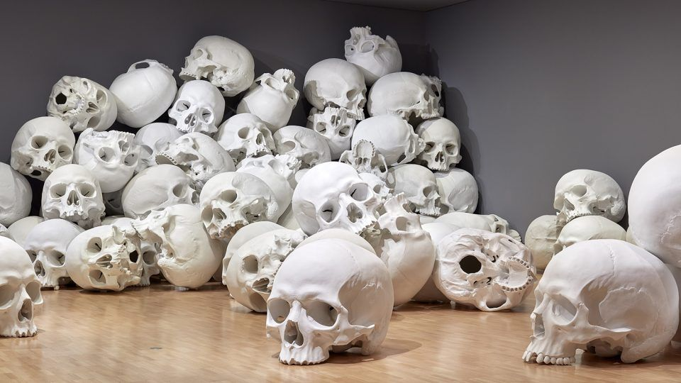 100 Fiberglass And Resin Skulls Fill A Room At The National Gallery Of Victoria In Melbourne Pastel Aesthetic Large Art Sculptures