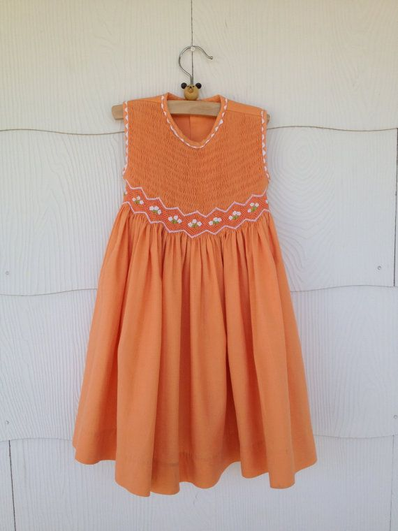 Vintage Ain't She A Peach Dress Girl's Size 3T by BerthRiteVintage, $22.00
