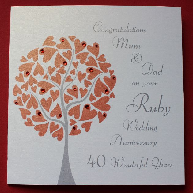 Personalised ruby wedding anniversary card �