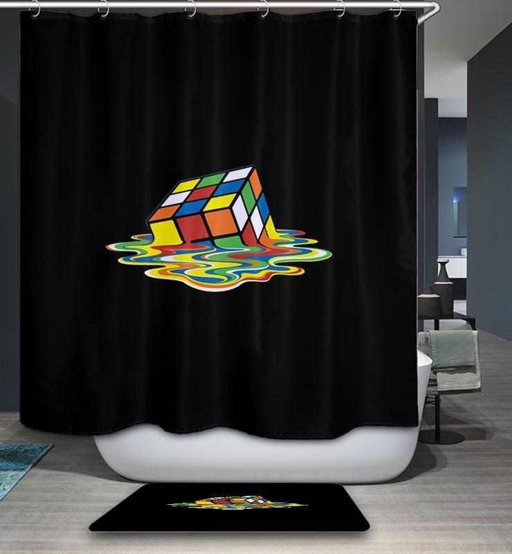 Melted Magic Rubik S Cube Geek Shower Curtain Bathroom Decor Cube Pattern Rubiks Cube Patterns Cube
