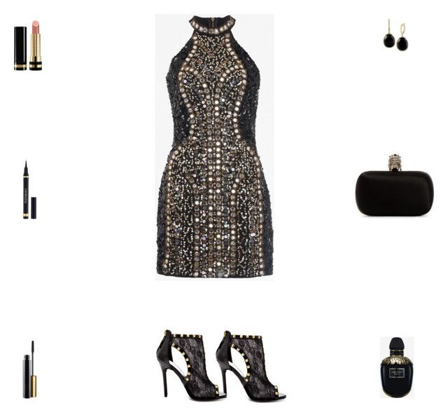 """""""Contest: Black & Gold Studs & Crystals Party Outfit"""" by billsacred ❤ liked on Polyvore featuring Bebe, French Connection, Alexander McQueen, Effy Jewelry, Yves Saint Laurent and Gucci"""