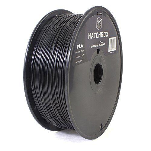 1 kg Spool HATCHBOX PLA 3D Printer Filament 1.75 mm Black Dimensional Accuracy +//- 0.03 mm