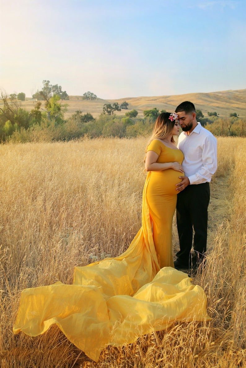Photo of Maternity Gown for Baby Shower Photo Shoot Wedding-Mustard | Etsy