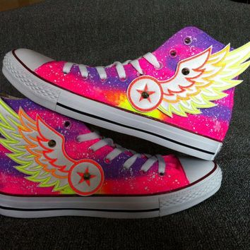 565b0b1f6cd1 Galaxy Custom Converse with Wings Galaxy Converse Sneakers  Hand-Painted On Converse  Shoes  canvas shoes sneakers For men women kids