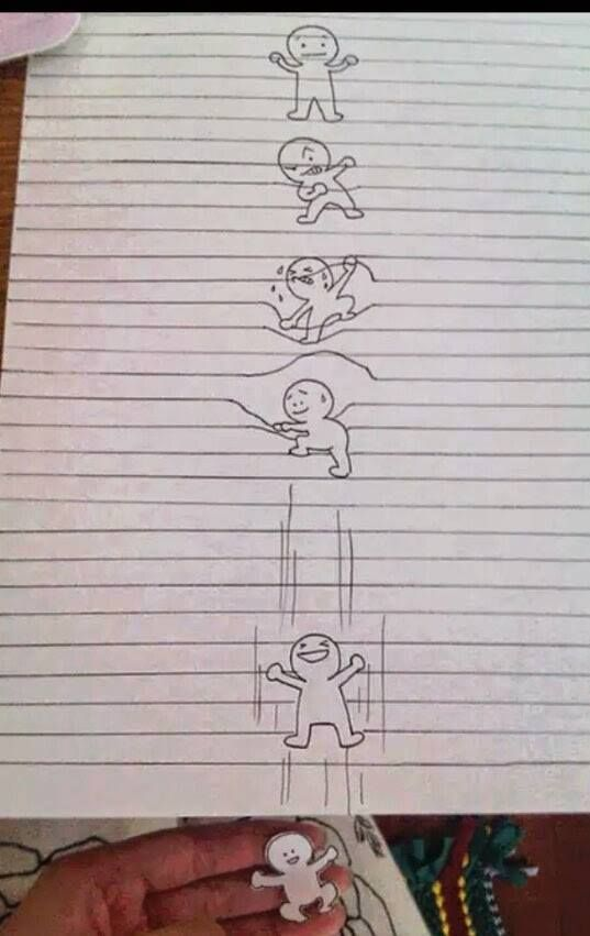 Little Guy Escapes From Lined Paper Drawing - http\/\/www - lined paper with drawing box