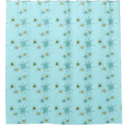 Robins Egg Blue Atomic Starbursts Shower Curtain