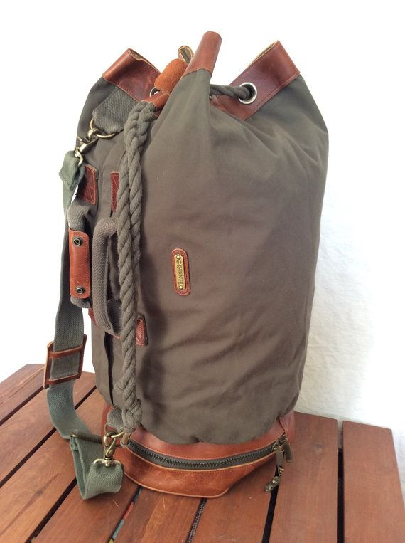 d4a5914cb0 Rare Unique Huge Large Vintage Timberland Green Canvas and Brown Leather  Trim Drawstring Knapsack Cross Body Bag Duffle Bag
