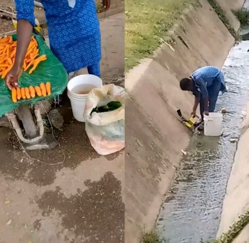 Busted Carrot Seller Spotted Washing His Carrots Inside A Gutter Gutter Carrots Water Sources
