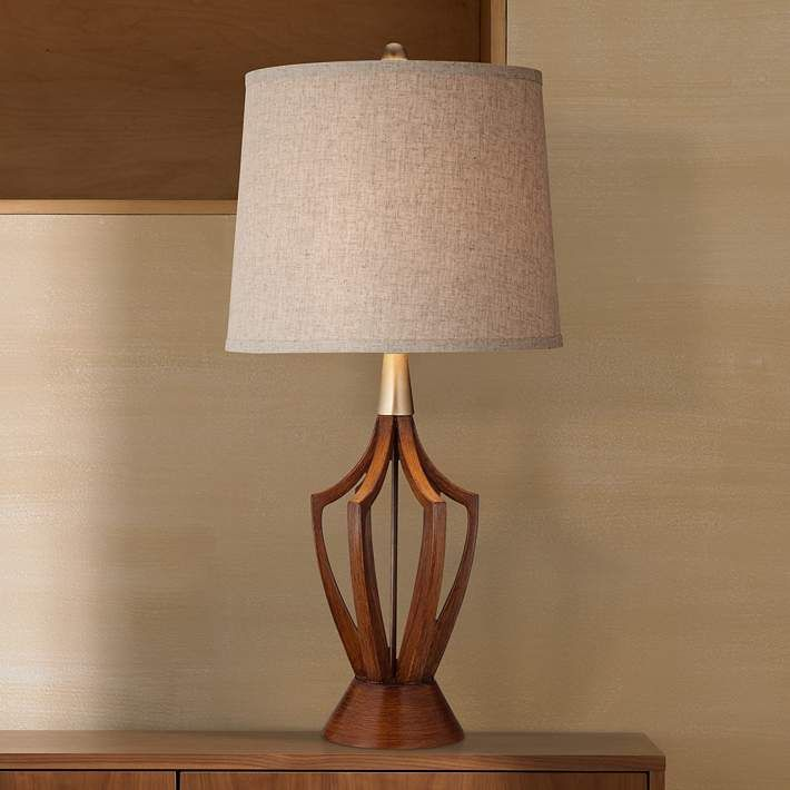 St Claire Wood Finish MidCentury Modern Table Lamp Modern table