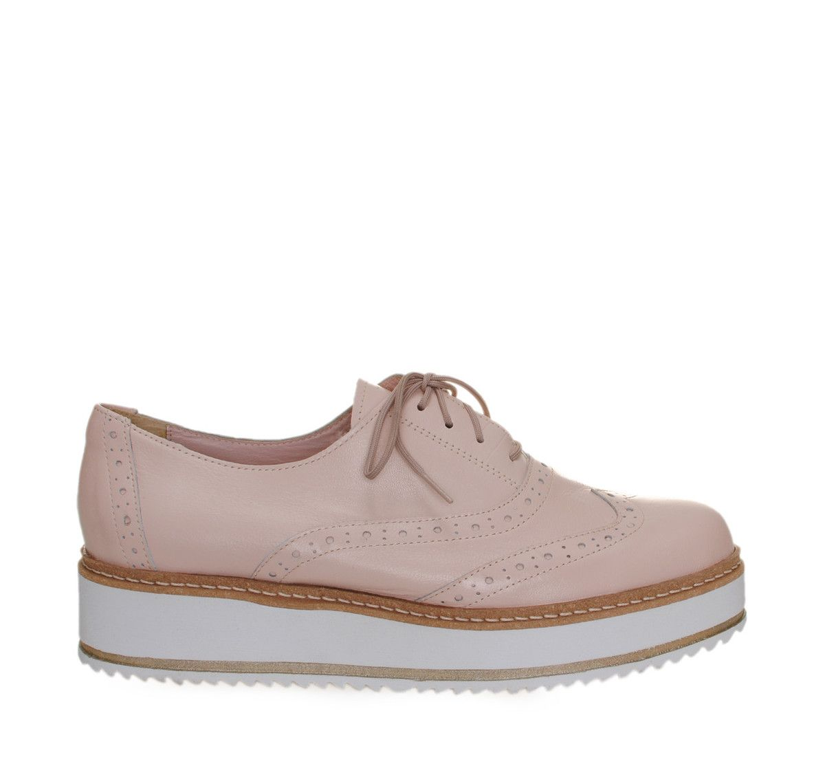 5cdb6aeb136 SAGS Nude Leather Oxford Shoes with Laces. Γυναικεία μπεζ δερμάτινα δίψηδα  παπούτσια με κορδόνια.