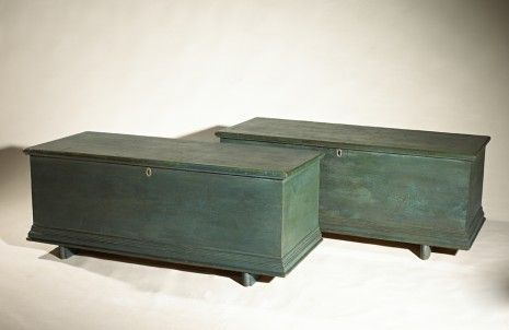 Pair of rare Hudson Valley pine and cedar blanket chests ...