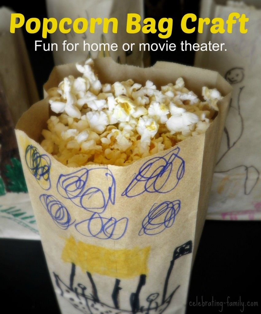 Popcorn bag craft - a fun idea for moviegoers. Perfect for summer movie programs!