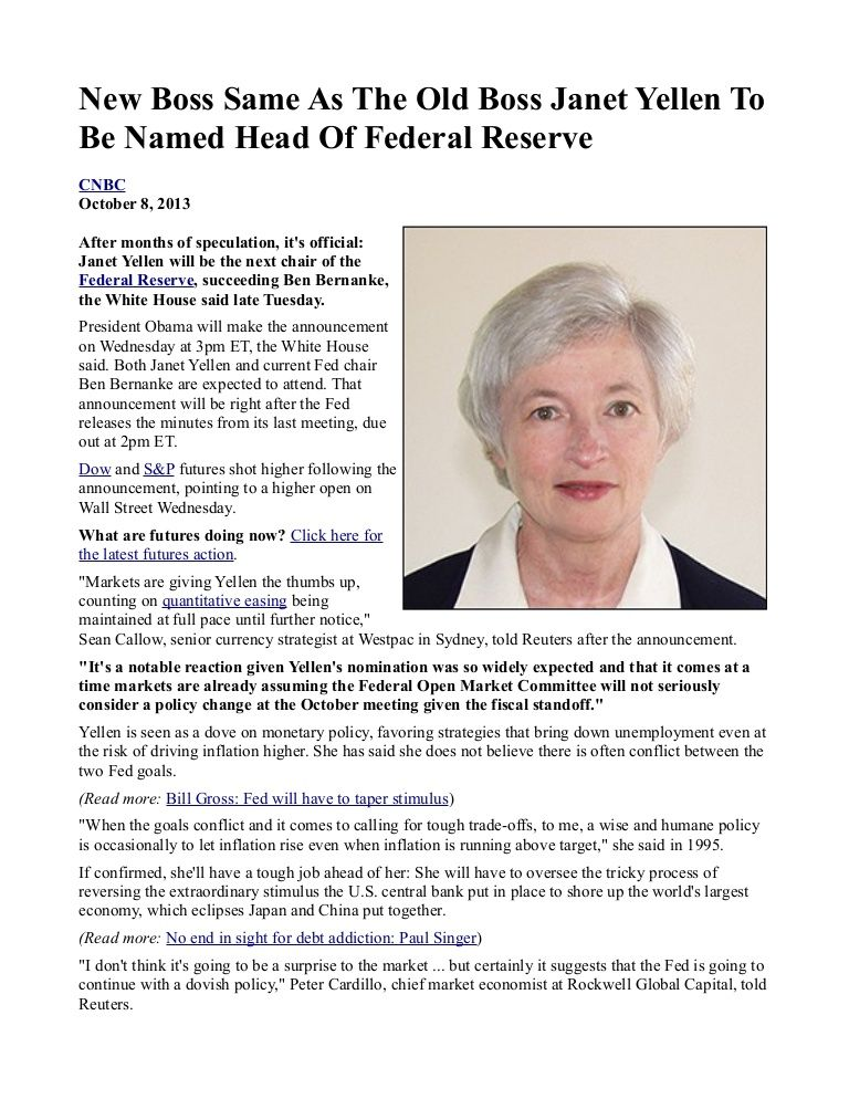 New Boss Same As The Old Boss Janet Yellen To Be Named Head Of Federal Reserve INFOWARS.COM BECAUSE THERE'S A WAR ON FOR YOUR MIND