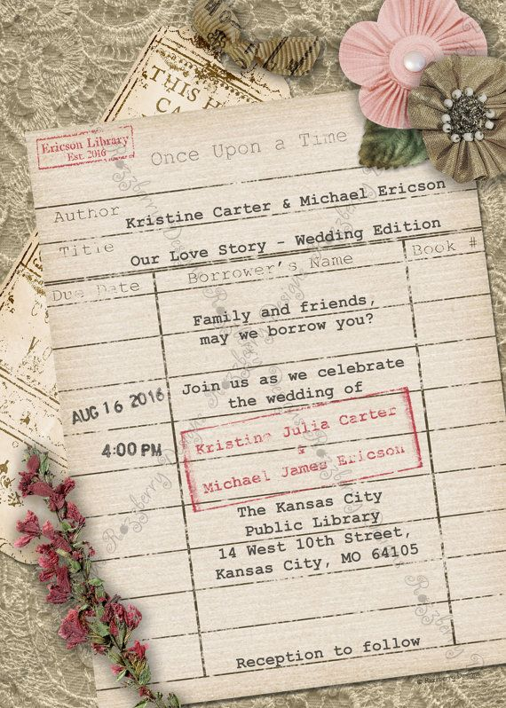 Library Card Wedding Invitation Book Theme Invite Vintage Rustic Literary Lover