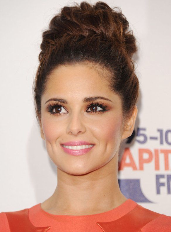 hair style for curly cheryl cole brown smokey eye pink fashion fix 3204