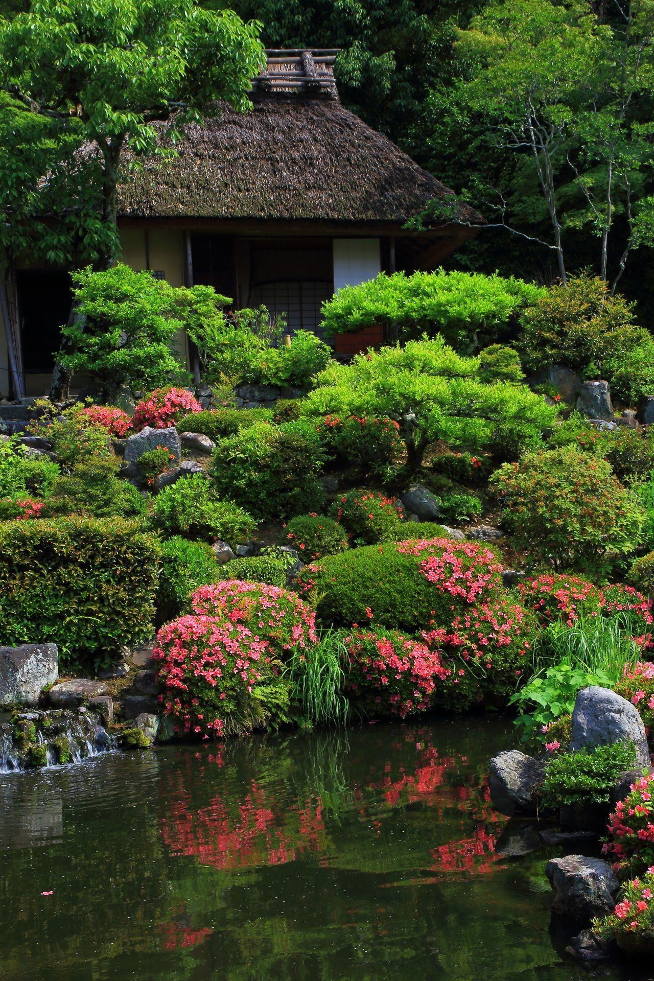 清漣亭(せいれんてい)とサツキの風情ある情景 JapaneseGardenDesignboulders