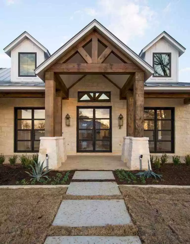 Stunning Modern Farmhouse Front Door Entrance Ideas 17 99decor Modern Farmhouse Exterior Exterior Brick Dream House Exterior