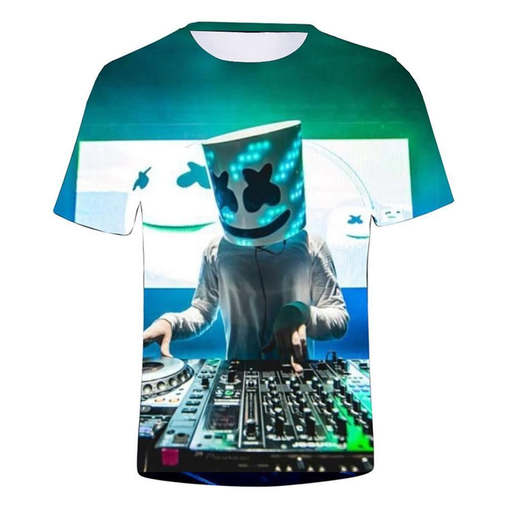 Marshmello T-shirt 3D Printed DJ Music Short Sleeve Basic Kids//Childiren//Boy Tee